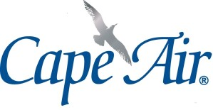 Logo for Cape Air with a seagull flying between the two words